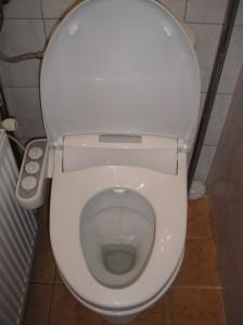 Color-bid ezüst, szűk helyen lévő monoblokkos wc-re szerelve, falon kívüli vízcsatlakozás